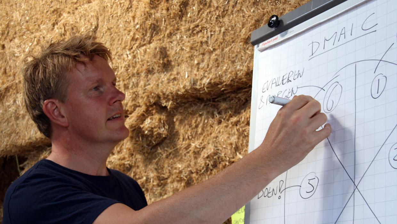 Henk tekent DMAIC model op flipover